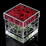 Rose flower pot box, contenitore di regalo del vaso del garofano fatto a mano del supporto dell'acqua, caso cosmetico di stoccaggio dell'organizzatore di trucco trasparente acrilico(9 foro)