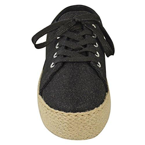 Donna Suola Piatta Espadrillas Con Lacci Glitter Pattinatori Trainers Scarpe Numero nero glitter