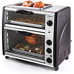 oneConcept All-You-Can-Eat Horno eléctrico doble • 2 cámaras de cocción • Parrilla superior • Capacidad Total 42 L • 2400 W • Temperatura: 60-240°C • Temporizador • Acero inoxidable • Plateado
