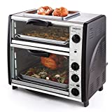 oneConcept All-You-Can-Eat Horno eléctrico doble • 2 cámaras de cocción • Parrilla superior • Capacidad: 42 L • Potencia: 2400 W • Temperatura: 60-240°C • Temporizador • Acero inoxidable • Plateado