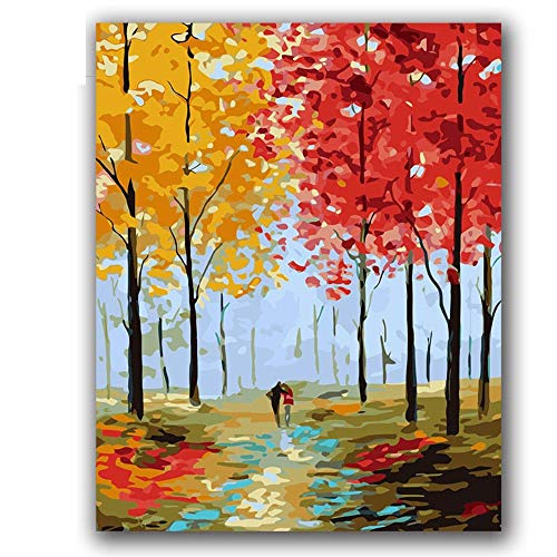 PAINTYTY DIY Digitales Ölgemälde Durch Zahlen Frühling, Sommer, Herbst Und Winter Farbe Stück Ölgemälde Flur Dekoration Partner (Winter-farbe Durch Zahl)