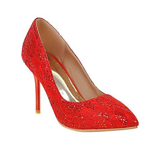 Mee Shoes Damen Stiletto spitz Pailleten Geschlossen Pumps Rot