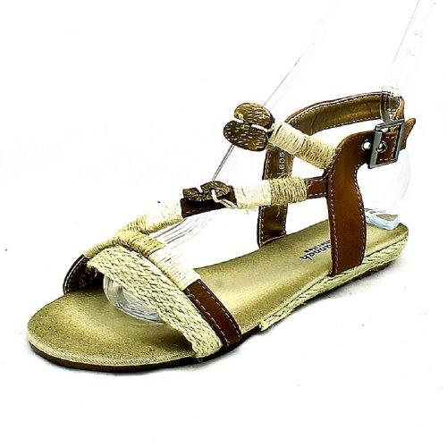 Donna sendit4me corda bordato basse sandali con cinturino Brown