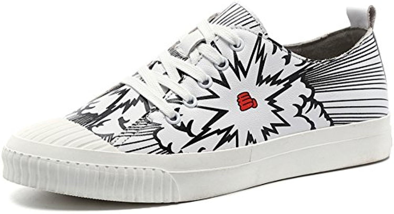 Hombres Zapatos Dress Adolescentes Aire Libre Moda Zapatos De Lona Resbalón Encendido Personalidades Blancas  -