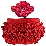 Wennikids bebé niñas de algodón volantes pañales cubre diadema Set–Multicolor Rojo rosso
