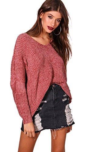 Damen Rose Lana Oversize-Pullover mit Rücken in Chenille-Optik und V-Ausschnitt - M-L (V-ausschnitt Chenille Mit Pullover)