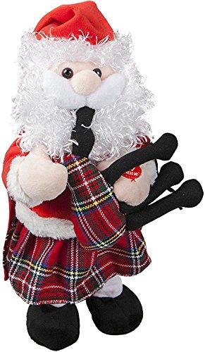 30cm Musical Tanzen Santa mit Kilt & Dudelsack - Neuheit Weihnachtsschmuck