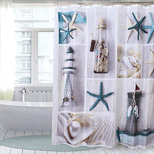 bluelover-cortina-de-ducha-de-bano-180x180cm-seashell-con-12-ganchos