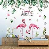 Pdrui Jungle Tropicale et Flamant Stickers Muraux, Bricolage Wall Art Mural Autocollant Mural Décoration pour Salon Chambre Chambre d'enfant Mur de Dortoir, 150×130cm