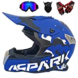 GWJ Adulto De Carretera Casco Dot Dirt Bike Motocross ATV Moto Offroad/Gafas/Máscara/Guantes (XL, Estilo 5),Bluespell,L