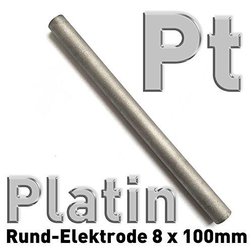 Platinum Titanium Anode, barra redonda de titanio revestido de platino, diámetro 8 x largo 100 mm, revestimiento de platino 2,5 micras, electrodo para galvanizado
