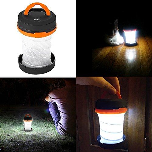 LE Laterne Zusammenklappbare led Taschenlampe mini LED Notfallleuchte 3 Helligkeiten Aussenleuchte für Camping Outdoor Wandern Angeln Abenteuer Campinglampe Ausfälle (1 er) - 5
