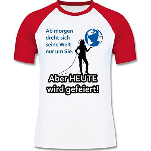 JGA Junggesellenabschied - Aber Heute wird gefeiert - zweifarbiges Baseballshirt für Männer Weiß/Rot