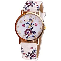 WINWINTOM Flower Pattern Leather Band Vogue Wrist Watch Red