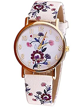 winwintom Blume Muster Leder Band Vogue Armbanduhr Rot