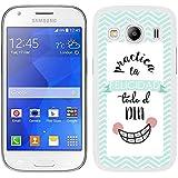 Funda carcasa para Samsung Galaxy Ace 4 diseño ilustración frase practica la felicidad todo el día borde blanco