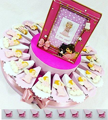 (20 fette + centrale) bomboniere battesimo femmina angeli rosa calamita con centrale portafoto angioletto kkk