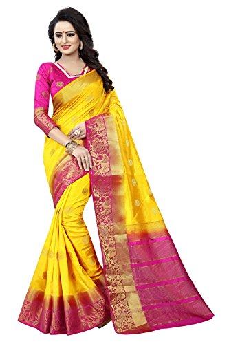 SAARAH Women Kanjivaram Art Silk Saree (N4026YL, Yellow)