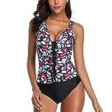 CICIYONER Siamese Bikini Set Damen Push-Up Streifen Bademode Beachwear Badeanzug