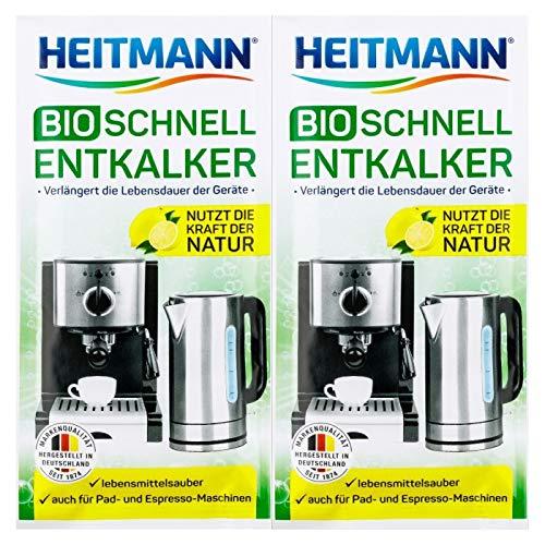 Heitmann BIO Schnell-Entkalker: Natürlicher Universalentkalker für Kaffeemaschinen, Wasserkocher, Eierkocher, 2 x 25 g, 1er Pack