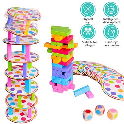 Gioco impilabile in legno Torre traballante Pisa Tower Building Blocks Gioco Domino 4 in1 Giocattoli di apprendimento Montessori Gioco per famiglie Giochi di Natale per bambini e adulti con custodia