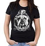 Bulldogge Girlie Shirt | Englische | Bulldog | Hund | M1 (L, Schwarz)