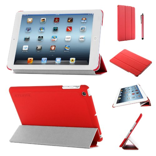 Stuff4®PU Leder Slim zusammenklappbar Multi Position Fall mit Tri Fold Ständer für iPad Mini/Mini Retina-rot (Ipad Mini Retina Case-portfolio)