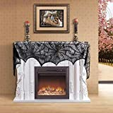 Decorazione Di Halloween,Lenzuolo Con Pipistrelli,Decorazione del camino,18x96inch Black Lace Halloween Spiderweb Pattern Camino Mantel Cloth Tovaglia Home Decor