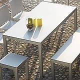 Quadrat Tisch - Gestell alufarben, Platte HPL weiß/anthrazit / 180 x 90 cm, h 76 cm