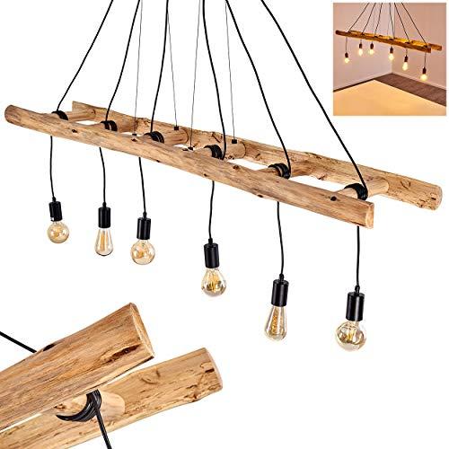 Pendelleuchte Yaak, Hängelampe aus Metall/Holz in Schwarz/Braun, 6-flammig, 6 x E27 max. 60 Watt, moderne Hängeleuchte geeignet für LED Leuchtmittel