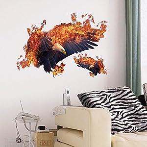 Wandaufkleber ZOZOSO PVC Wandtattoos Selbstklebende Kreative Europa Und Amerika Flamme Adler Wandtattoos Wanddekoration Wandtattoos Sk7124