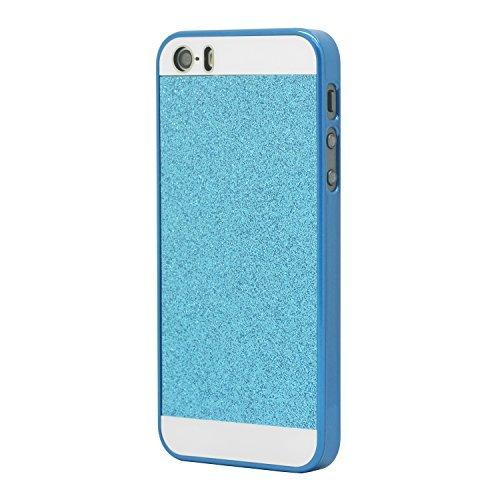 iProtect Schutzhülle Apple iPhone 5, 5s Hülle mit Glitzer - Effekt in gold Glitzer blau