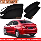 #5: Autofact Magnetic Window Sunshades/Curtains for Honda Amaze 2018 Onwards Model [Set of 4pc - Front 2pc with Zipper ; Rear 2pc Without Zipper] (Black)