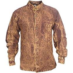 LITTLE KATHMANDU - Camisa casual - Con los botones - con botones - Manga Larga - para hombre Marrón marrón Small