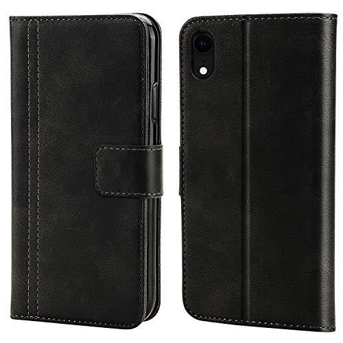 iPhone XR Leder Hülle Retro Schutzhülle Handyhülle Leder Case Hülle Tasche für Handy iPhone XR Schwarz