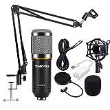 zingyou Kondensator Mikrofon Kit, bm-800Mikrofon-Set mit verstellbarem Mikrofon Suspension Scissor Arm, Metall Shock Mount und doppelten Pop Filter für Studio Recording & brocasting BM-800 Microphone Bundle