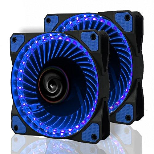 LeaningTech 2 Pcs LED Gehäuselüfter, LTC LitFlow 120mm High Airflow Quiet LED Lüfter, PC-Kühlung mit LED-Beleuchtung,Blau