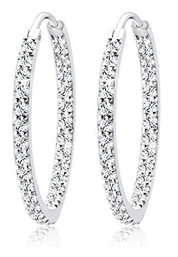 Elli Damen Ohrringe Creolen 925 Sterling Silber Swarovski Kristalle weiß