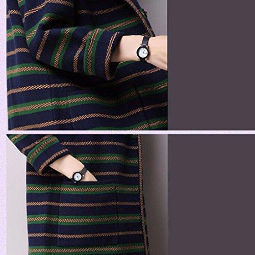QIYUN.ZRayures Femmes Filles Manteau Pull Tricoté Long Cardigan Ouvert Avec Poches Marine