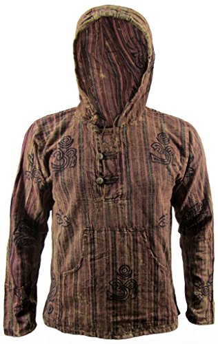Little Kathmandu da uomo in cotone Slavato simboli Om Stampa Maniche nonno camicia giacca con cappuccio Brown Small