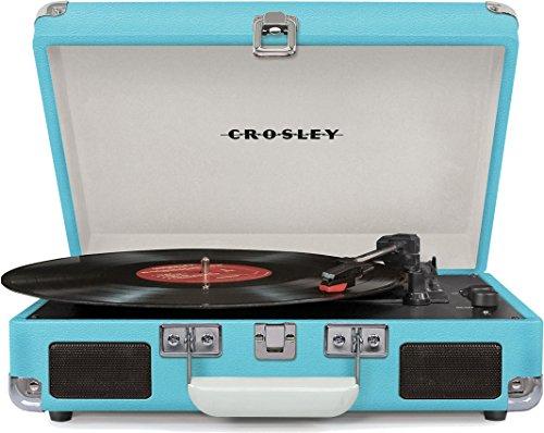 Crosley Cruiser Deluxe Tragbarer Bluetooth Plattenspieler im Retro-Design mit Einstellbarer Geschwindigkeitseinstellung, Kopfhörerbuchse, RCA-Ausgang und Integriertem Lautsprecher - Türkis