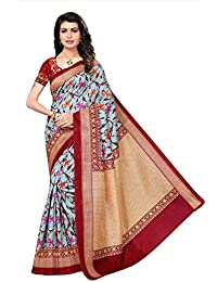 Fabwomen Sarees Floral Print Multi Coloured Cotton Silk Fashion Party Wear Women's Saree/Sari With Blouse Piece