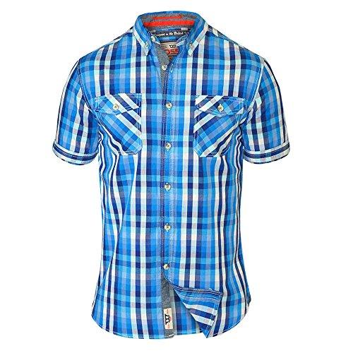 Herren Kariertes Hemd D555 Duke Kragen Kurzärmelig Schottenkaro Groß King-size Sommer Blau - EMANUEL