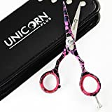 Unicorn Plus Scissors - Professionelle Haarschneideschere 4,5 Zoll Frisuren Pink & Black Blume Salon Schere Schere Schnurrbart Scheren + Schuber Bild 3