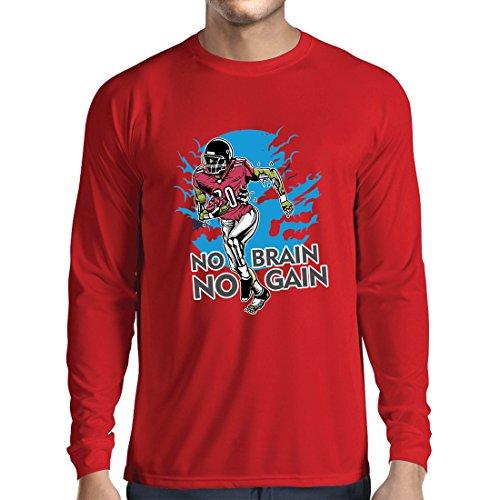 lepni.me Langarm Herren t Shirts Kein Gehirn, Kein Gewinn! Zombie Football Player - Inspirierende Fußball Zitate (X-Large Rot Mehrfarben) (Logo Langarm-jagd-t-shirt)