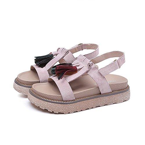 Sandale Essenz (Sommer Gummi Streifen verziert römischen Stil Damen Flache Sandalen Gemütlich (Color : Pink, Size : 36))