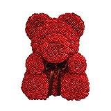 Schöne Teddybär Rose Bär mit Geschenkbox Valentinstag Jubiläumsgeschenk für Freundin Frau (34 * 28 * 25cm)