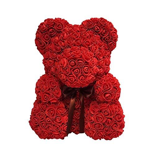 Yying Día de San Valentín Rosa Oso ,Oso de Peluche de Flor de jabón con Caja de Regalo Regalo Encantador para la Esposa de Novia (34 * 28 * 25cm)