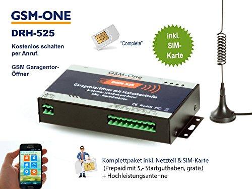 GSM Fernschalter 12V, Gate Opener, Garagentoröffner: Kostenlos Schalten per Anruf; KOMPLETTSYSTEM DRH-525 von GSM-One inkl. Netzteil, Sim-Karte (Prepaid), App und Handbuch in Deutsch