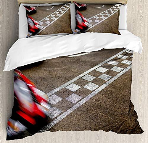 WENYAO Man Cave Decor Queen Size Bettbezug, Crossing Finish Line Rennstrecke Freizeitverfolgung Erfolg Sieg, dekorative 3-teiliges Bettwäsche-Set mit 2 Kissenbezügen, Mehrfarbig -